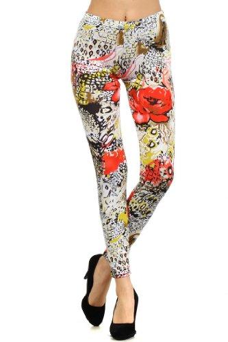 Fashion Mic Stella Elyse Funky Print Cotton Leggings (Plus Size (L/XL), animal rose)
