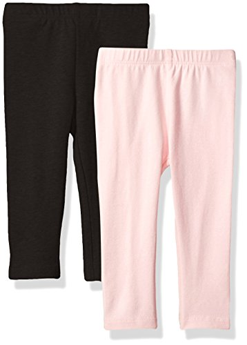 The Children's Place Baby Girls' Toddler 2 Pack Basic Leggings, Black/Shell 3T