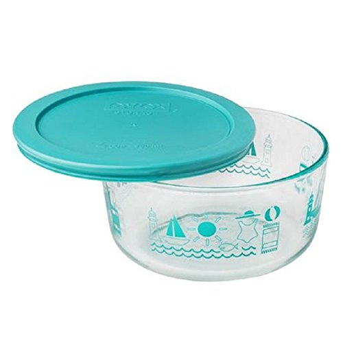 Pyrex Simply Store Summer Fun 4 Cup Dish with Turquoise Lid