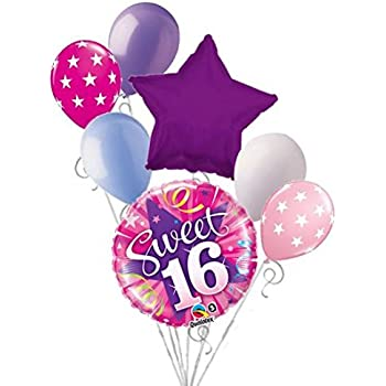 Jeckaroonie Balloons 7 Pc Shining Pink Sweet 16 Happy Birthday Balloon Bouquet Party Decoration 16th