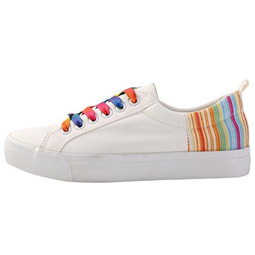Alexis Leroy Colorful - Zapatillas planas de lona con cordones para mujer Blanco