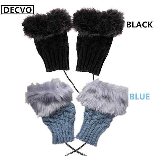 2 Pair (4 Pack) DECVO Winter Powered Warmer Thicken Fingerless USB Heated Gloves Plush Cold-Proof Knitted Half Finger Laptop Mittens USB Warm Gloves for Women Teen Girls Best Winter Gift (Black+Gray)