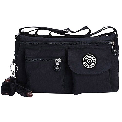 Crossbody Black Black Wiwsi New Fashion Women Shoulder Handbag Zip Bags Nylon Small Satchel R8fgRO7q