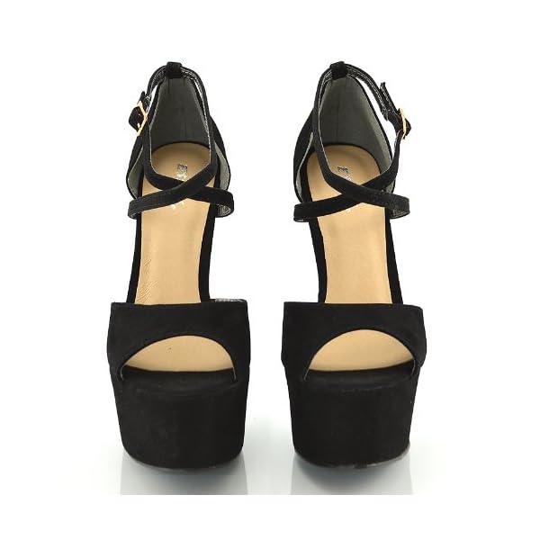 ESSEX GLAM Sandalo Donna Peep Toe con Lacci Plateau Tacco a Spillo Alto 4