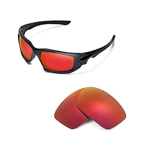 Walleva Replacement Lenses for Oakley Scalpel Sunglasses - Multiple Options Available (Fire Red Mirror Coated - ()