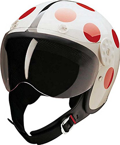 HCI Open Face Fiberglass Motorcycle Helmet - White/Red Ladybug 15-230 (Small)