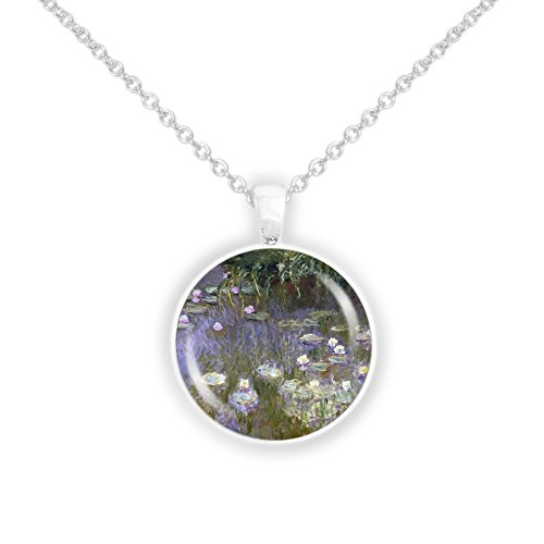 Monet Silver Necklace - Water Lilies w/ Violet Water Monet Art Painting 1
