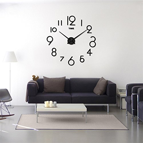 wawoo modern large mute 3d diy arabic numbers wall clock stickers mirror surface effect wall. Black Bedroom Furniture Sets. Home Design Ideas