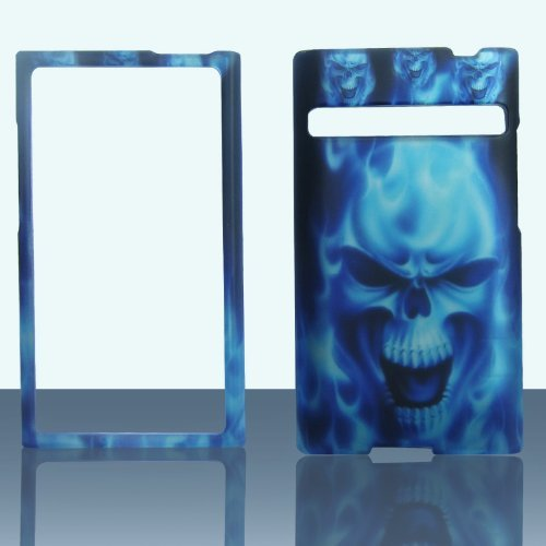 2D Blue Skull LG Optimus Logic / Dynamic L38c / L35g (Straight Talk / Net 10) Case Cover Phone Snap on Cover Case Protector Faceplates (Lg Optimus Logic Phones compare prices)