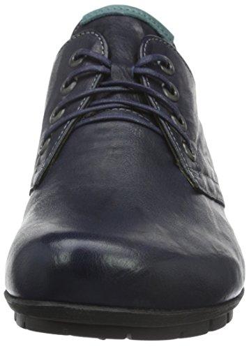 Think Menscha, Zapatos De Cordones Derby para Mujer Azul - Blau (Navy/KOMBI 84)