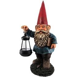 Garden Gnome Holding Lantern Statue LED Light