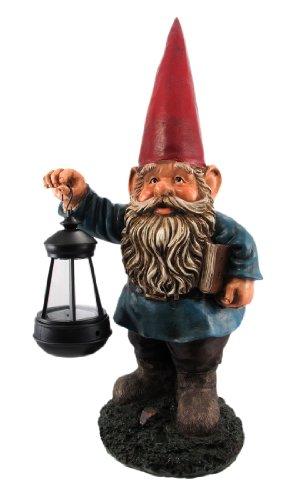 (Garden Gnome Holding Lantern Statue LED Light)