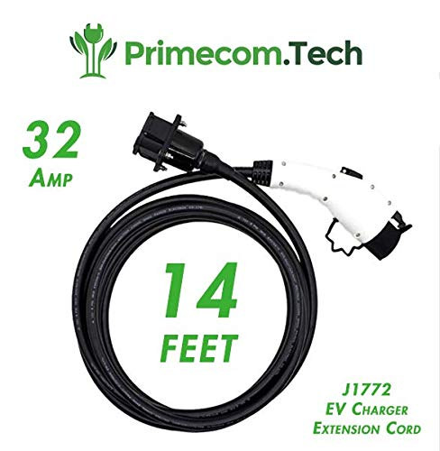 PRIMECOM 14 Feet EV Charging Cable Extension Cord 32A J1772 EV Charger Extension Cable 14ft (32Amps)