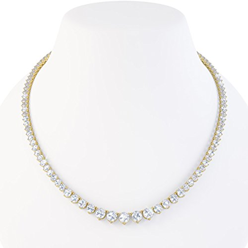 Jian London Eternity Collier avec saphirs blancs Argent plaqué or 40,5-48 cm