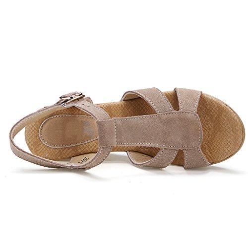 PENGFEI Chanclas de playa para mujer Zapatillas de verano Sandalias de compras Ocio Femenino Antideslizante Pendiente de fondo grueso con sandalias Cómodo y transpirable ( Color : A , Tamaño : EU37/UK B