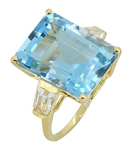 YoTreasure Sky Blue Topaz Solid 14K Yellow Gold 2-Stone Ring 11.21 Ct Emerald Cut