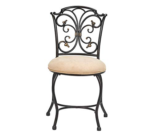 Premium Sparta Vanity Stool, Black with Gold Highlighted Accents