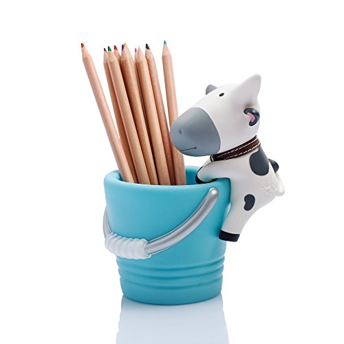 BuBu Pen & Pencil Holder / Desk Organizer (Blue, White)