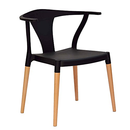 High Quality Wishbone Inspired Modern Accent Chair (Set of 2) Kitchen Furniture Black