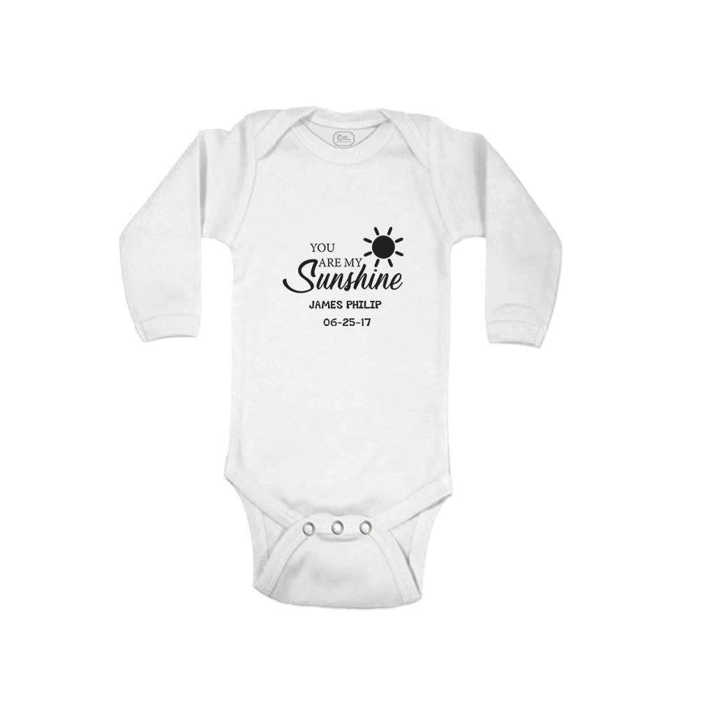 5b3a0908e Amazon.com: Personalized Custom You are My Sunshine Message Long Sleeve  Bodysuit One Piece: Clothing