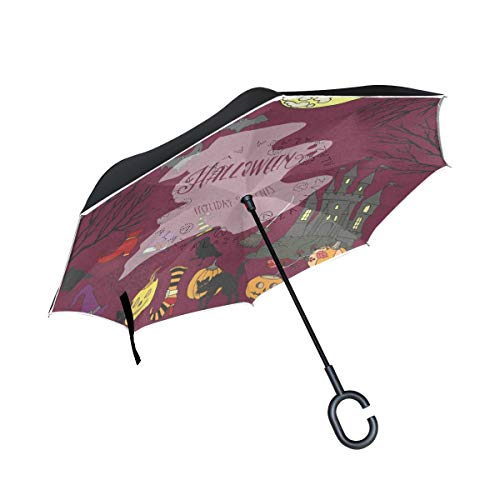 Inverted Umbrella Halloween Holiday Decorations Double Layer Reverse Umbrella for Car Windproof UV Protection Big Straight with C-Shaped Handle