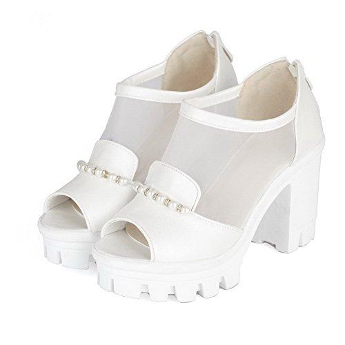 VogueZone009 Women's Zipper High Heels Pu Solid Open Toe Heeled-Sandals White mwFR9k7em