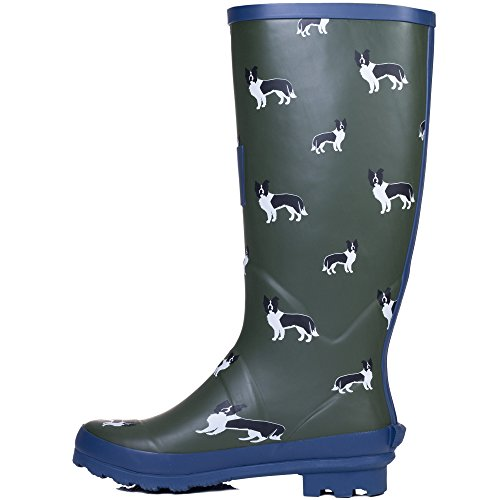 Boots Rain Spylovebuy Buckle Flat Dog Wellies Border IGLOO Adjustable Collie Women's Festival qwB0S8B