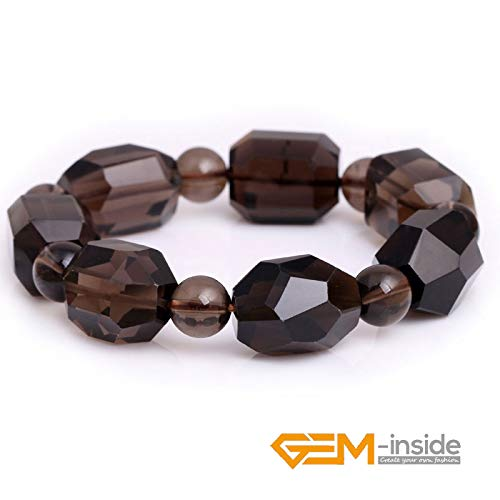 (Natural Faceted Smoky Quartz Gemstone Beaded Elastic Bracelets Jewelry | for Women, Girl (7.5 Inches))