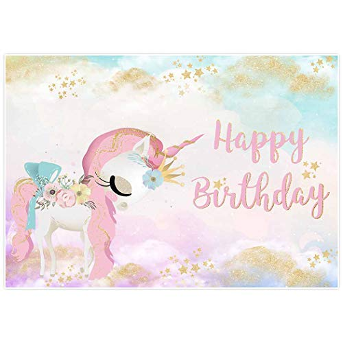 Allenjoy 7x5ft Watercolor Unicorn Backdrop Sky Cloud Gold Glitter Stars Background Baby Shower Happy Birthday Party Cake Dessert Table Decor Decoation Banner Photo Booth ()
