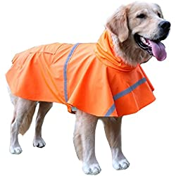 BINGPET BA1065 Adjustable Dog Raincoat Pet Puppy Lightweight Rain Jacket Poncho with Strip Reflective , Orange Extra Large