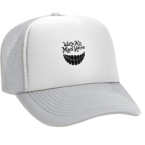 - Evil Teeth We're All Mad Here Cap, Breathable Mesh Trucker Hat Outdoor Sun Hats Beanies for Men Women
