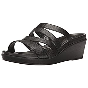 Crocs Women's Leigh-Ann Leather Mini Wedge Sandal