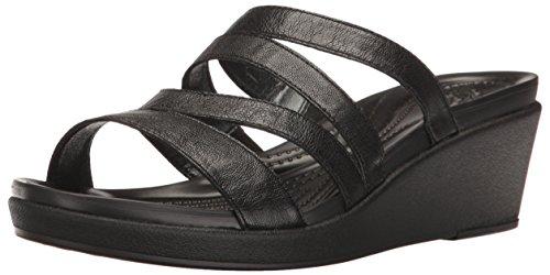 crocs Women's Leighann Mini Lthr Wedge Sandal, Black, 6 M US -