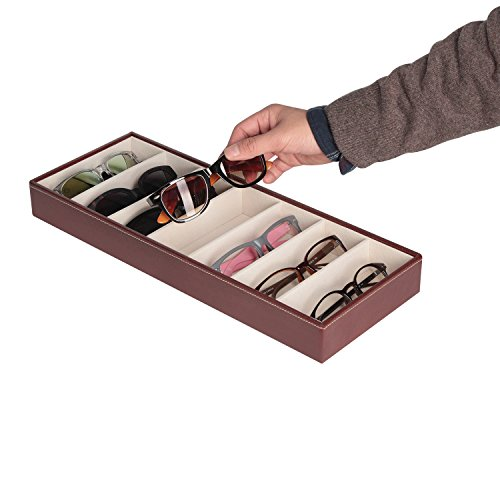 JackCubeDesign Leather 7 Compartments Eyeglass Display Organizer Eyeglasses Sunglass Storage Case Box Eyewear Tray Stand Open Top Suede Inside(Brown, 17.4 x 6.7 x 1.97) – MK378B
