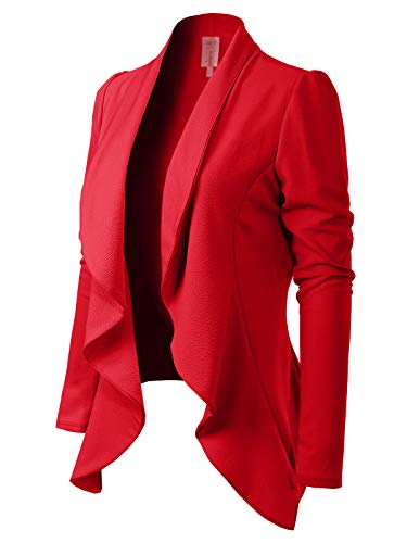MixMatchy Women's [Made in USA] Solid Formal Style Open Front Long Sleeves Blazer (S-3X) Red 3XL