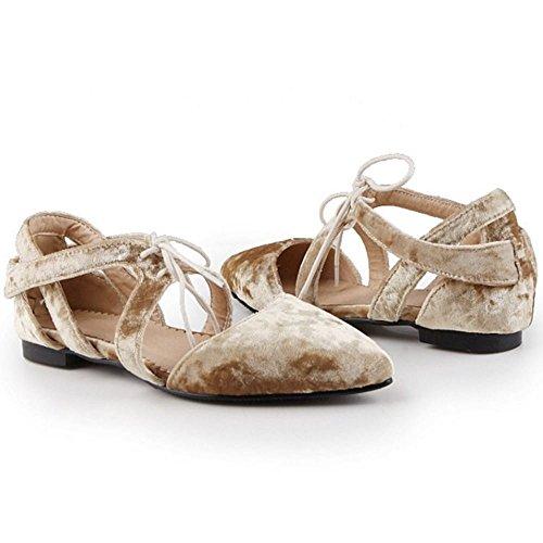 TAOFFEN Mujer Comfortable Cordones Puntiagudo Sandalias Compras Plano Zapatos Blanco