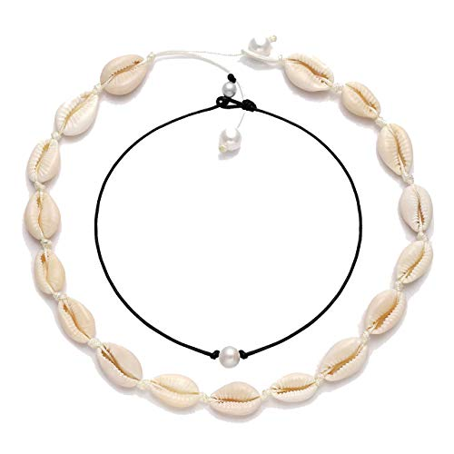 (XOCARTIGE Puka Shell Necklace for Women Boho Cowrie Shell Choker Necklace Anklets Set Hawaiian Chips Shell Collar Surfer Choker Pearl Cord Necklace Set (Shell Choker+Pearl Choker) )