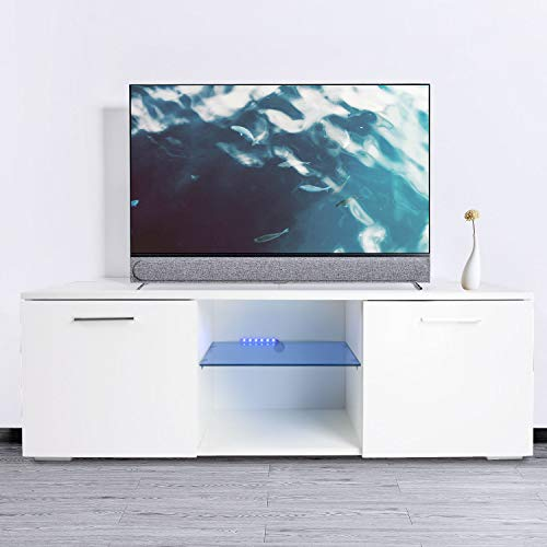 TV Stand Cabinet High Gloss White TV Console Cabinet Shelves Entertainment Wood Console Storage with LED Lights up to 47-inch TV Screen 2 Drawers Living Room/Office Furniture Set ()