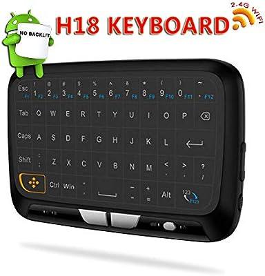 Mini Retroiluminado Inalámbrico Teclado, Linstar H18 + 2.4GHz Combo de Touchpad y Ratón 2.4GHz Recargable Mini QWERTY Español Teclado para Smart TV, PC, Android TV Box, PC, HTPC, XBox, Raspberry Pi: Amazon.es: