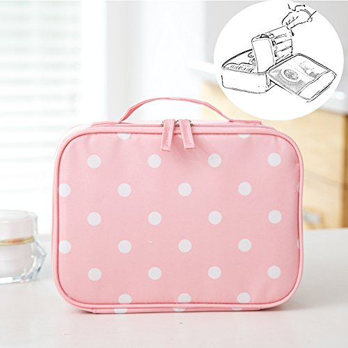 (LANGUGU Waterproof 2 Layer Large Capacity Cosmetic Bag Portable Makeup Brush Organizer Kit Multifunctional Vacation Travel Home Toiletry Cute Printed Pouch for Little Young Girl (Pink Polka Dot))
