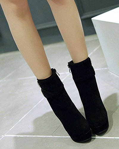 Ladies Buckle Boots Zippers Ankle High Side Black Suede VECJUNIA Heeled UBwqZZd