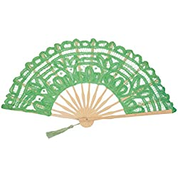 FAN-017 Lime Green Cotton Lace Elegant Fan