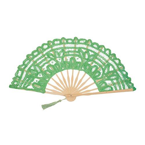 FAN-017 Lime Green Cotton Lace Elegant Fan