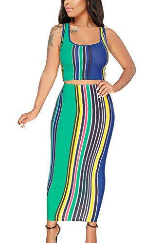 (LaSuiveur Women's Two Piece Outfits Stripe Crop Top Midi Skirt Bodycon Dress Green M)