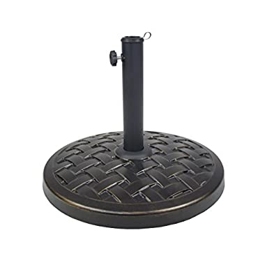 Oakland Living Cast Iron and Concrete Umbrella Stand, Antique Black, 40 lb.