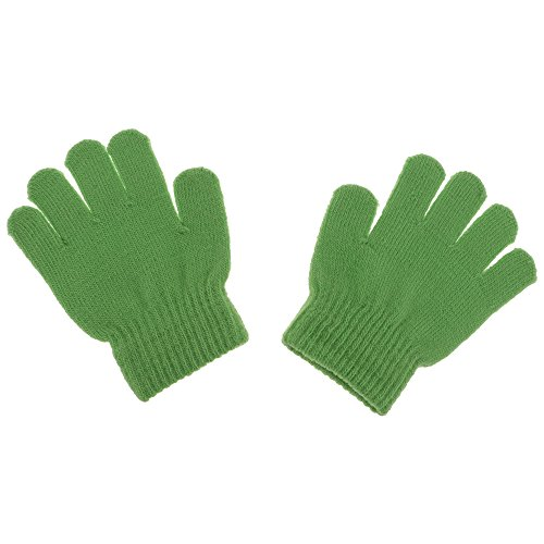 Huayang Baby Winter Full Finger Mittens Soft Acrylic Solid Knitting Gloves Green (Gloves 1 Magic)