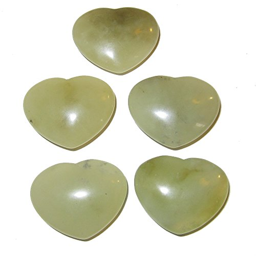 Jade Heart 05 Crystal Set New Green Love Healing Party Favor Gift Stone Rocks 1.3