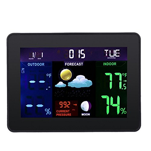 Hense Digital Indoor Humidity Monitor Hygrometer Thermometer Monitor Weather Station with LCD Display Alarm Clock Calendar Function, Two Receivers HT15