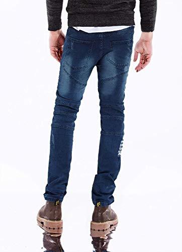 Stile Distrutti Denim Vintage Semplice Fit Da Jeans Uomo Slim Rot Casual Moda Strappati Stretch Pantaloni Zf0WwcqB