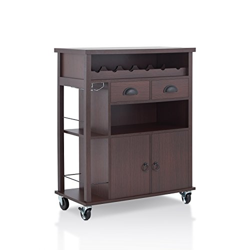 HOMES: Inside + Out Ceesa Mobile Wine Rack Mini Bar, Espresso